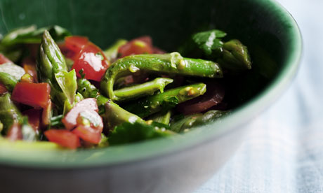 Nigel Slater's asparagus with lemon and tomato sauce