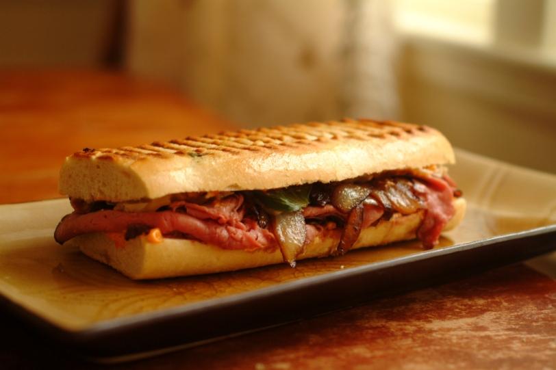 Thai style Roast beef panini